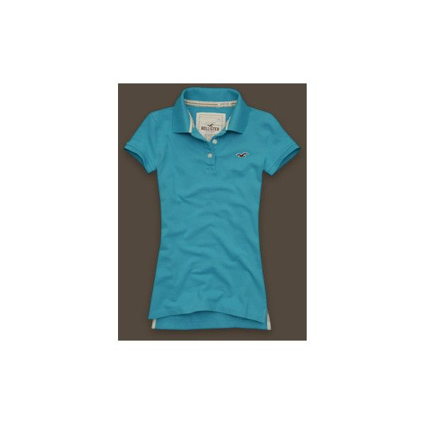 Point Vicente (56 BRL) ❤ liked on Polyvore featuring tops, polos, hollister, shirts, women, embroidery polo shirts, blue polo shirt, cotton polo shirts, embroidered cotton top and embroidered top