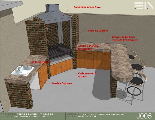 Proyecto barbacoas cocinas y pergolas para exteriores for Asador para jardin