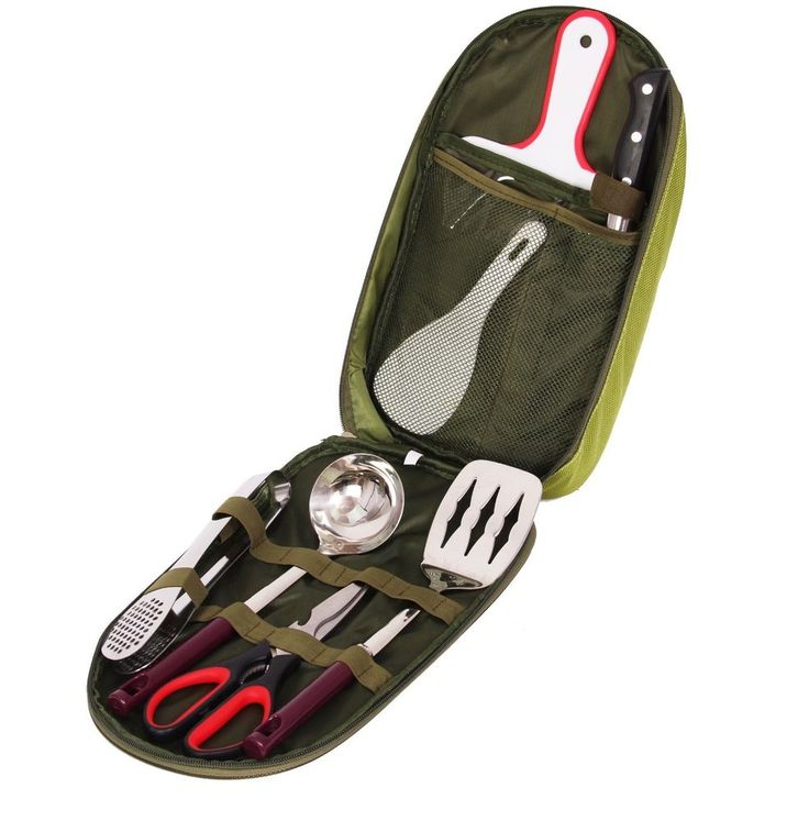 7 Piece Camping Cooking Utensil Set With Case Green Backpacking Basecamp Tenting #7PieceCampingCookingUtensilSet
