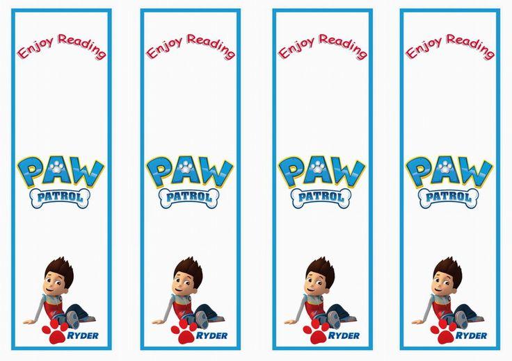 Paw Patrol Name Bookmarks