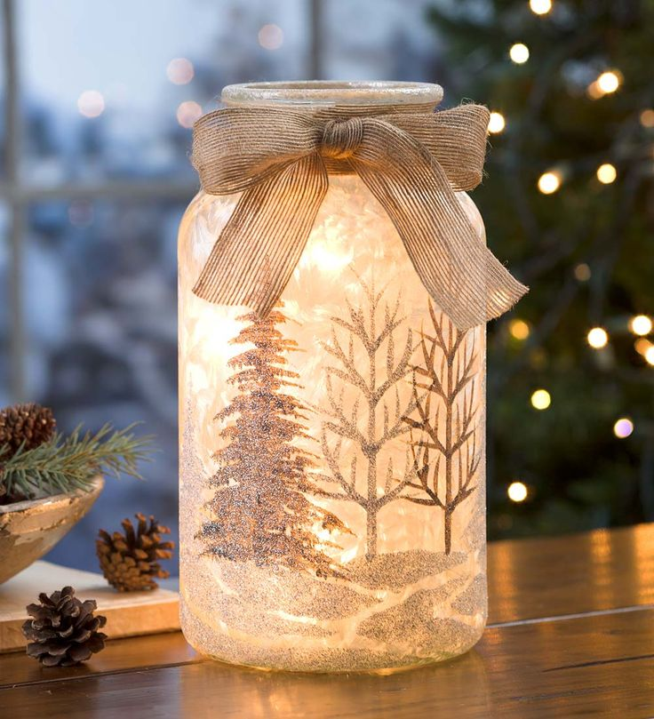 Glass Holiday Lantern With Holiday Scene   Lamps