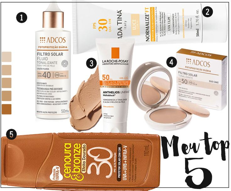 Protetor solar com cor: os melhores para proteger e uniformizar a pele oleosa! Mostrei 5 opções de filtro solar com cor para o rosto e também para o corpo!