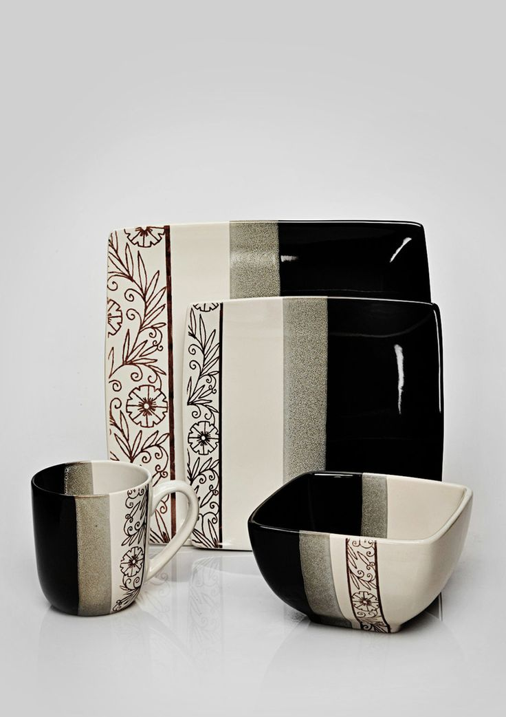 STOKES floral stencil 16 piece dinnerware set $69 & 85 best Dinnerware Sets images on Pinterest | Dinnerware sets Dish ...