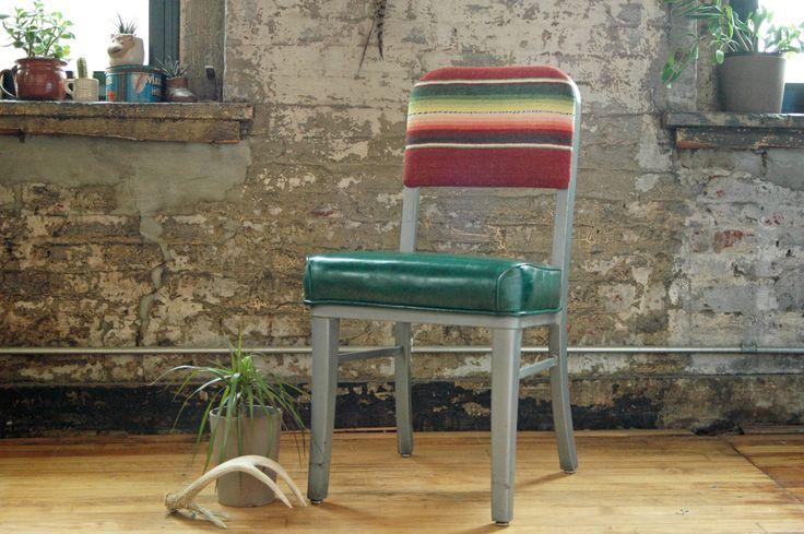 Vintage Steelcase Metal Office Chair with Saltillo Southwestern Stripe Mid Century Modern Industrial Desk Chair by territoryhardgoods on Etsy