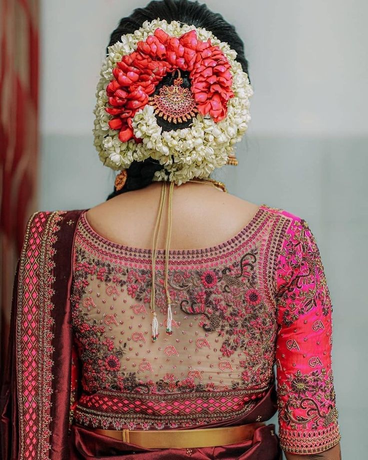 Best Hairstyle For A Wedding, Mehndi And Haldi With Floral | Saree blouse designs, Silk saree ...