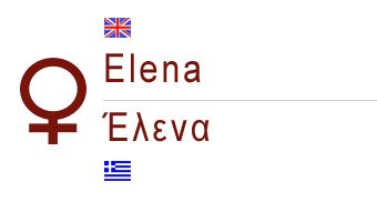 Elena is a rather common female name, one of the main nicknames that come from the name Eleni. Both Elena and Eleni are used in Greece and Cyprus