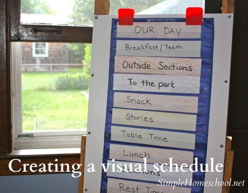 """For those with dedicated homeschool spaces, creating a visual schedule might help with the inevitable question, """"What do we do next?"""""""