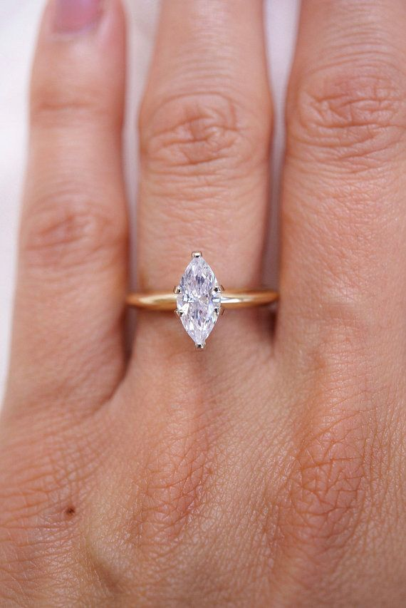 280a0015e9f Marquise Diamond Solitaire Ring in 14k Yellow Gold, Dainty Marquise ...