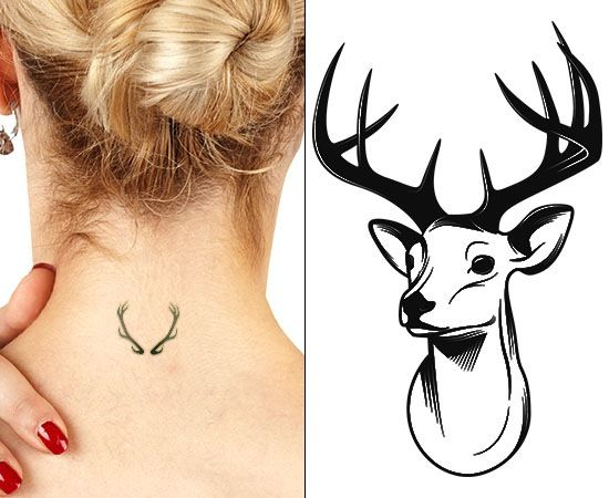 deer-skull-tattoo-ideas-for-nape.jpg (550×450)
