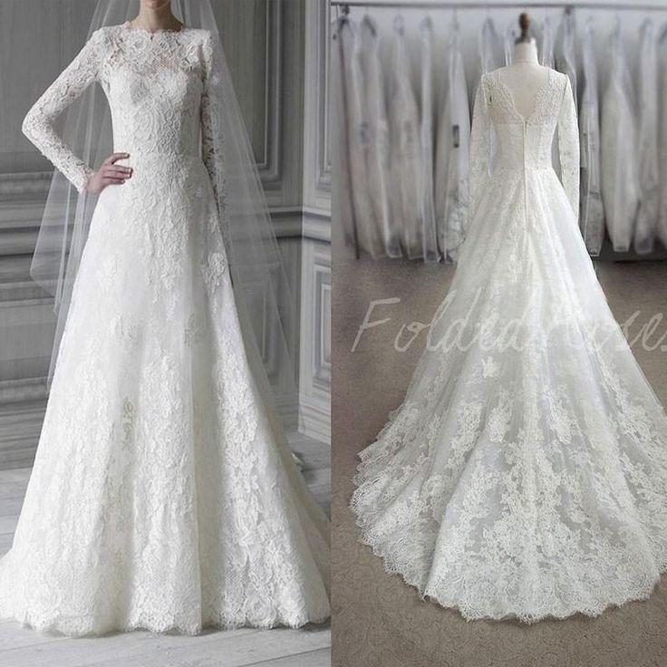Garis Manten Romantis 2015 Gaun Pengantin Renda Lengan Panjang Vintage Gow Pengantin In 2020 Lace Wedding Dress Vintage Short Wedding Dress Muslimah Wedding Dress
