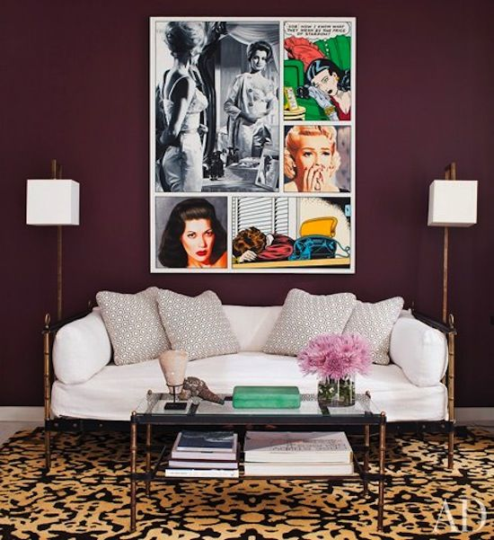 Eggplant purple living room walls