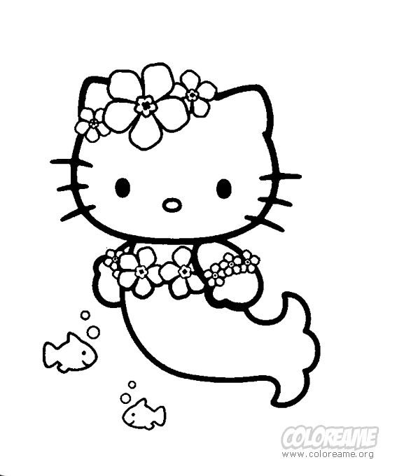 Dibujo para Colorear de Hello Kitty sirena, GENERAL