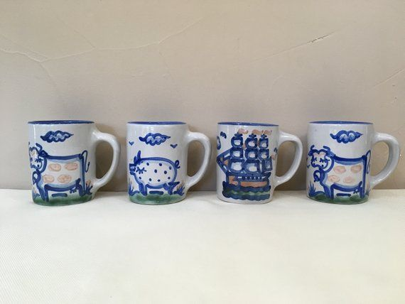 Vintage Ma Hadley Pottery Mugs 4 1 Pig 2 Cows 1 Clipper Country Coastal Pottery Collection Farmhouse Dinnerware 4 Mugs Hand Crafted Hadley Pottery Pottery Mugs Farmhouse Dinnerware