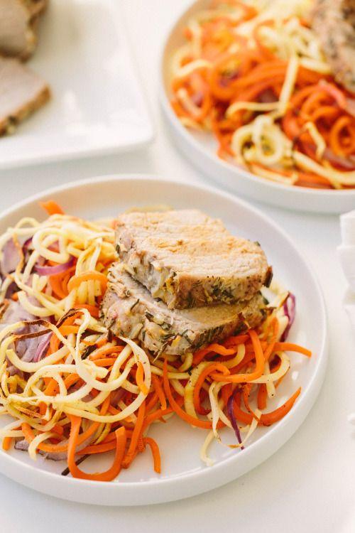 Pork Loin Roast with Spiralized Root VeggiesReally nice recipes.  Mein Blog: Alles rund um die Themen Genuss & Geschmack  Kochen Backen Braten Vorspeisen Hauptgerichte und Desserts # Hashtag