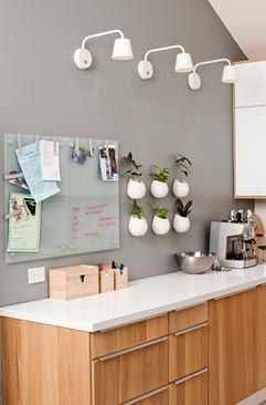 white benchtop, instead of oak panels on cupboards, plywood.