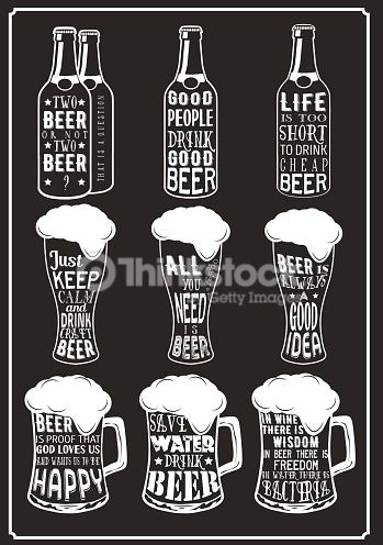 Vector Art : Set of beer typography vintage prints. Quotes about beer