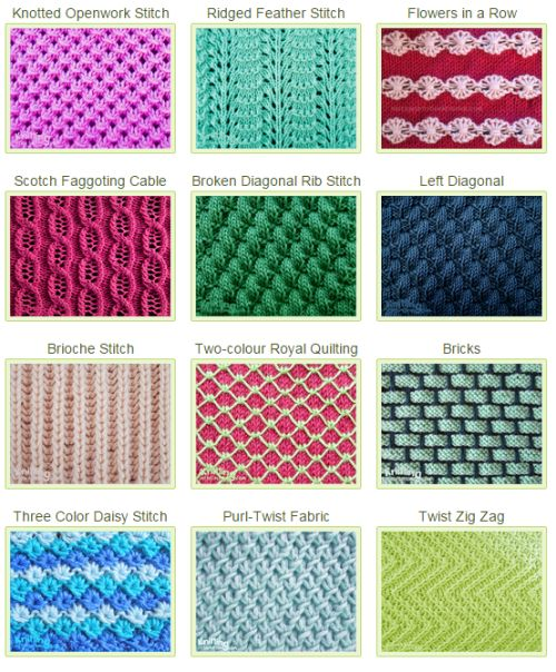 List of beautiful stitch patterns to use in everyday projects