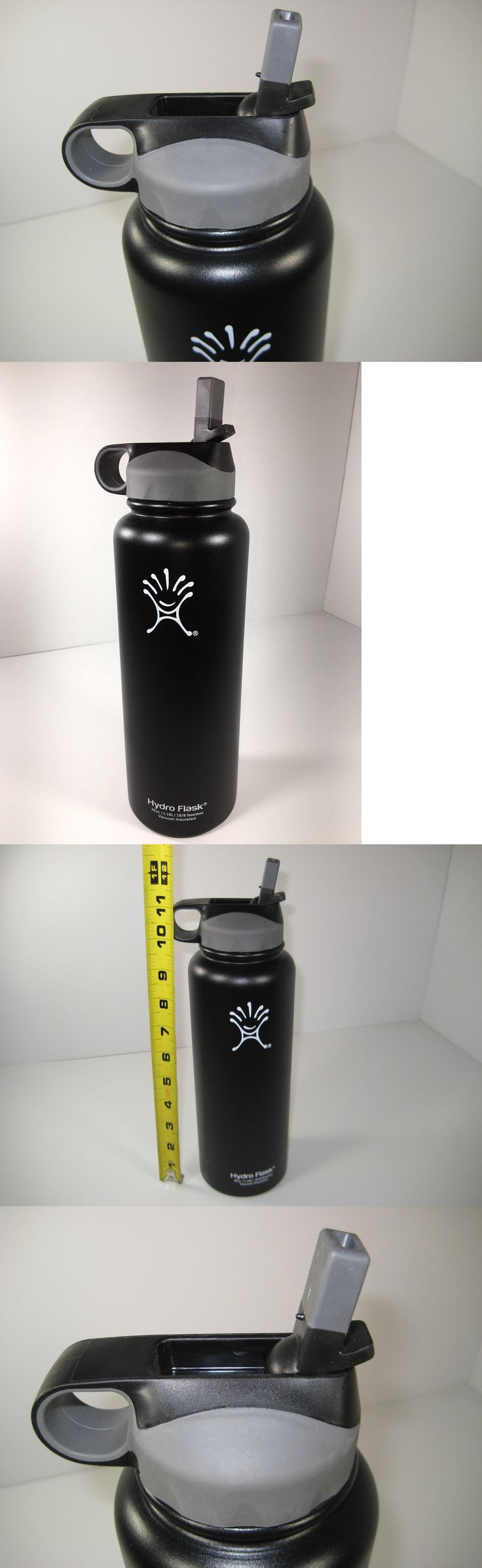Canteens Bottles and Flasks 181408: Hydro Flask 40Oz. Black Insulated Stainless Water Bottle Wide Mouth W Straw U.S. -> BUY IT NOW ONLY: $59.95 on eBay!