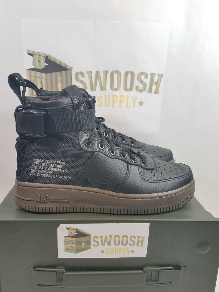 Nike Womens SF AF1 Mid Air Force 1 Black Dark Hazel AA3966 003 Size 6.5 #Nike #Athletic