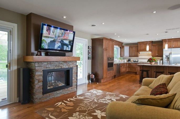 Gas fireplace mantel plans woodworking projects plans - Living room dining room with fireplace ...