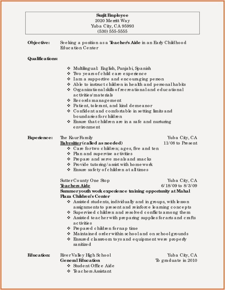 Resume early childhood education in 2020 teacher resume