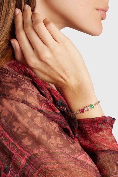 Brooke Gregson - Triple Orbit 18-karat Gold, Emerald And Sapphire Bracelet - one size