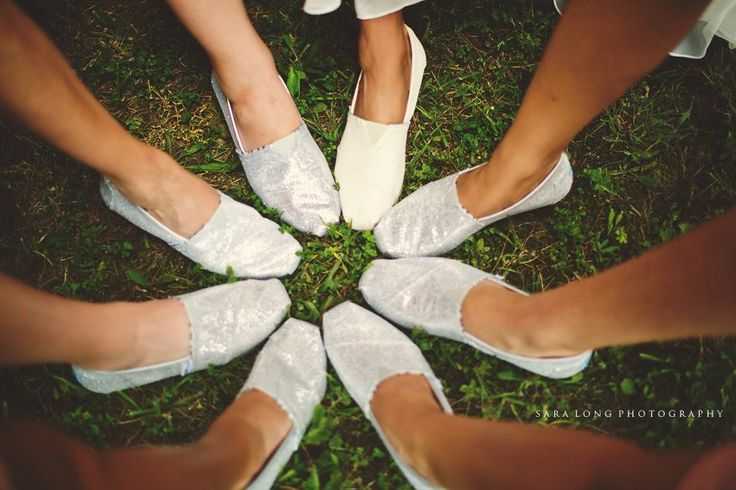 The bridesmaids wore silver toms and the bride wore white :)