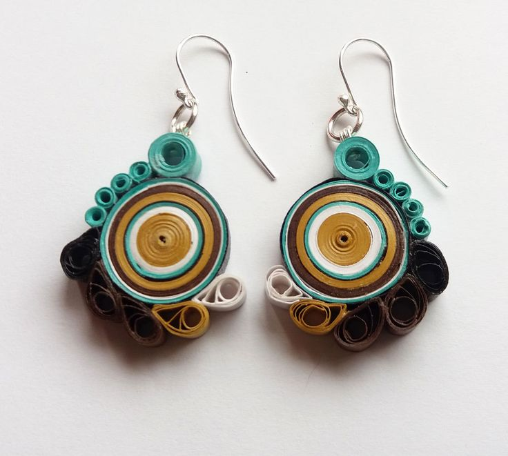Paper Earrings, Quilling Jewelry, Paper Jewelry, Light Blue Brown White…