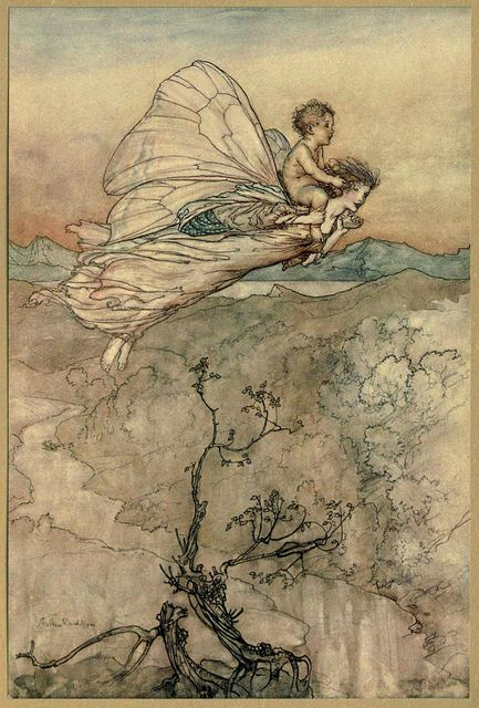 """Bear the changeling child to my bower in fairy land"" by Arthur Rackham  Illustration used for Shakespeare's ""Midsummer Night's Dream""  Arthur Rackham [English Golden Age Illustrator, 1867-1939]  Watercolor, pen & ink (1908)  ""I then did ask of her [Titania] her changeling child; Which straight she gave me, and her fairy sent To bear him to my bower in fairy land"" -Oberon, king of the fairies,"