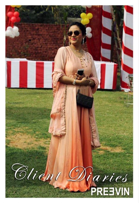Gorgeous Preevin Client! Here's our peach ombré tone on tone threadwork Anarkali. We love it on her! #Preevin #Fashion #Delhi #Shopping #IndianFashion #IndianAttire #Anarkali #Suits #IndianWear #FashionDesigner #DelhiFashion