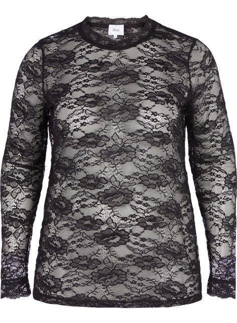 Blondebluse fra Zizzi. Denne bluse er lavet i blonde med rund hals og lange ærmer. Blusen er gennemsigtig - Tag en basis Zizzi top på indenunder for at undgå dette. Style blusen med et par slim fit Zizzi jeans eller nederdel.