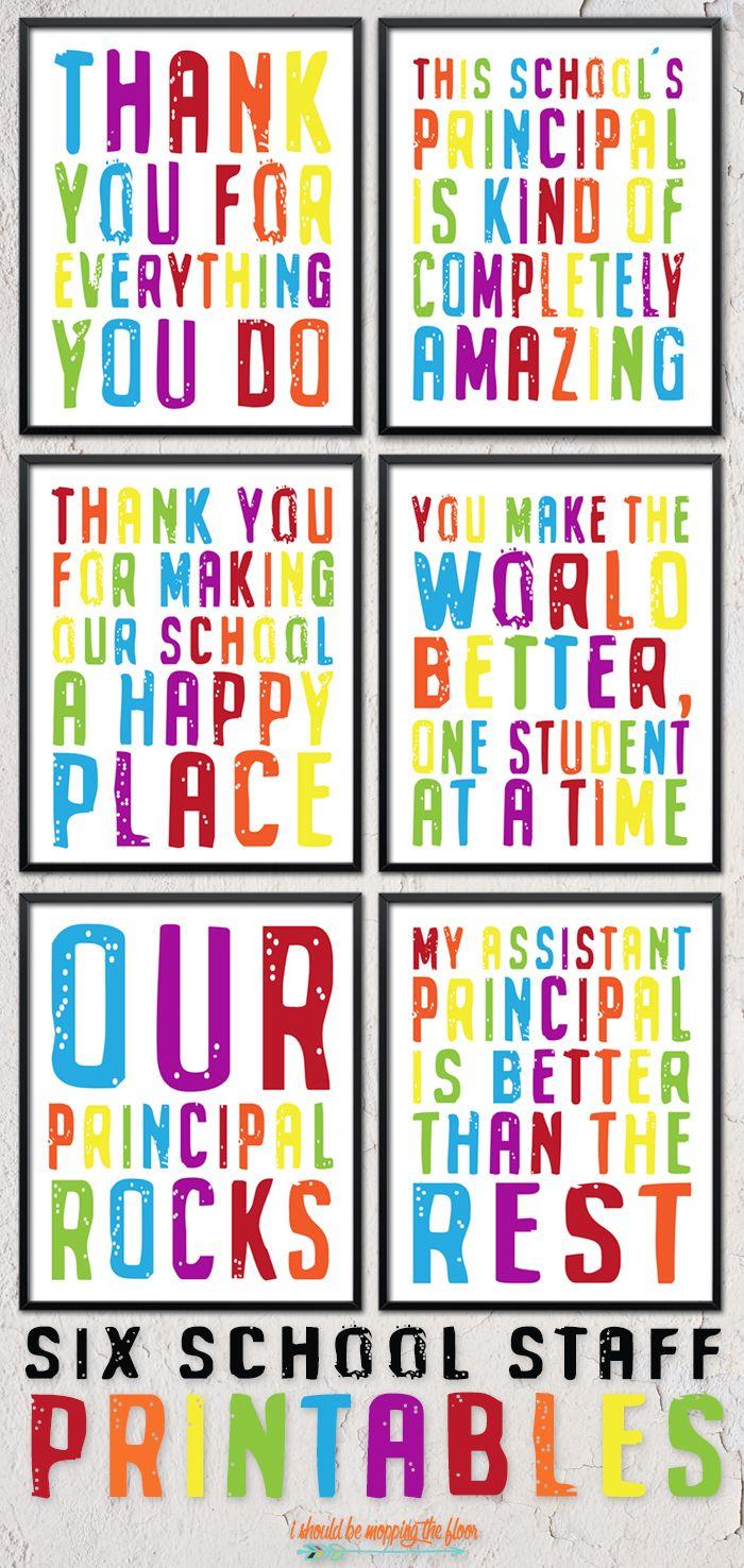 Six Printable School Staff And Principal Gifts Principal Gifts