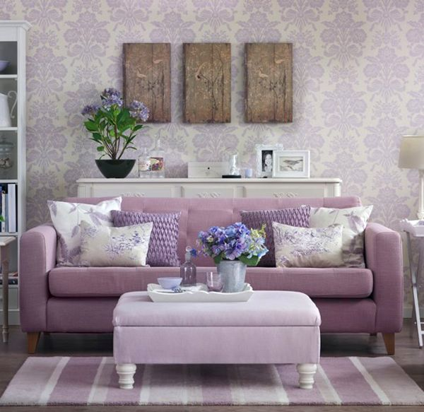 looking for great living room decorating ideas take a look at this feminine lilac living room from ideal home for inspiration for more living room ideas - Purple Home Decor
