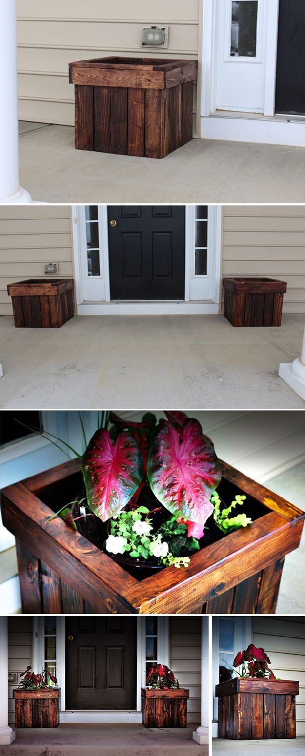 Stained Pallet Planter Box | 12 Creative Pallet Planter Ideas by DIY Ready