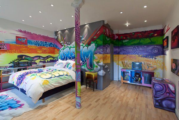 Cool Looking Bedrooms ambientes decorados com grafites e desenhos | graffiti, sons and