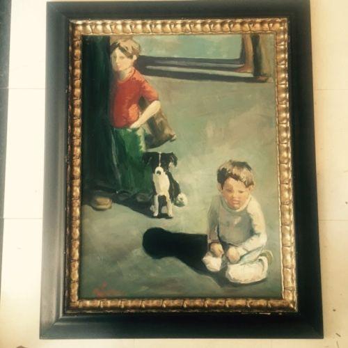 Винтажный модернистский интерьер поп абстрактная картина маслом современный дизайн середины века подпись   eBay