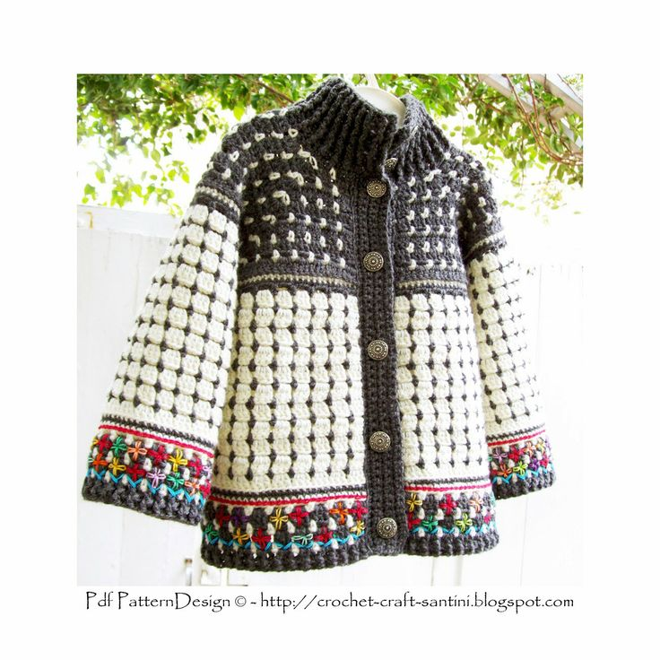 Fair Isle Style Crochet Cardigan for Kids by Ingunn Santini