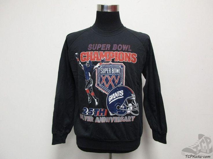 Vtg 90s Garan New York Giants SUPER BOWL XXV 25 Crewneck Sweatshirt sz L Large #Garan #NewYorkGiants