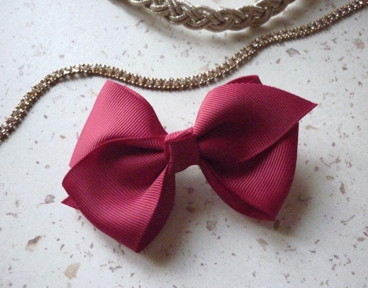 Barrette cheveux rouge noeud papillon femme 9 cm de long - intérieur pince 4 cm