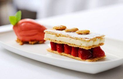 Mille Feuille Recipe with Strawberry Sorbet from Stephen Crane - Great British Chefs
