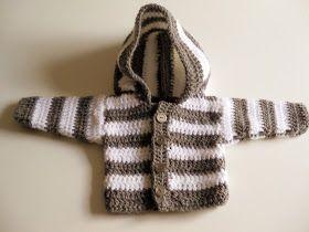 panpancrafts: Tutorial: simple crochet striped hooded baby jacket / Simple Striped Baby Hoodie (crochet)