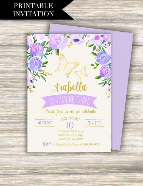 Purple Butterfly Birthday Invitation Download BUTTERFLY INVITATION Lavender Gold Garden Floral Shabby Watercolor Invite
