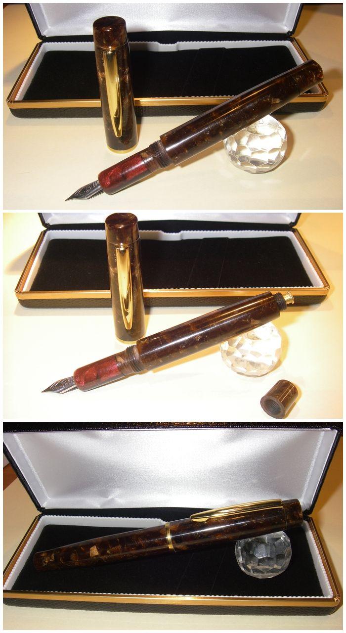 """Penna Stilografica BlancheurPens Russet Brown """"button-Filler"""", realizzata in artigianato artistico a mano."""
