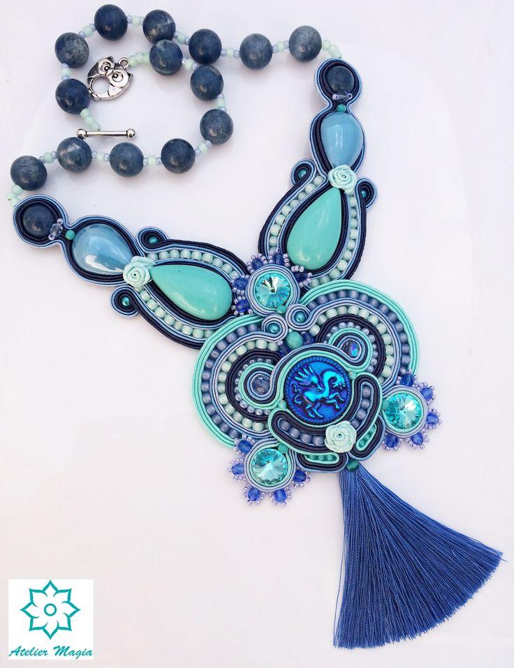 soutache necklace - Atelier Magia by Katarzyna Wysocka #soutache, #soutachenecklace, #ateliermagia, #bohonecklace, #tassel
