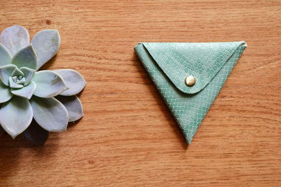 Mint green triangle coin purse / Leather coin by LeatherDetails