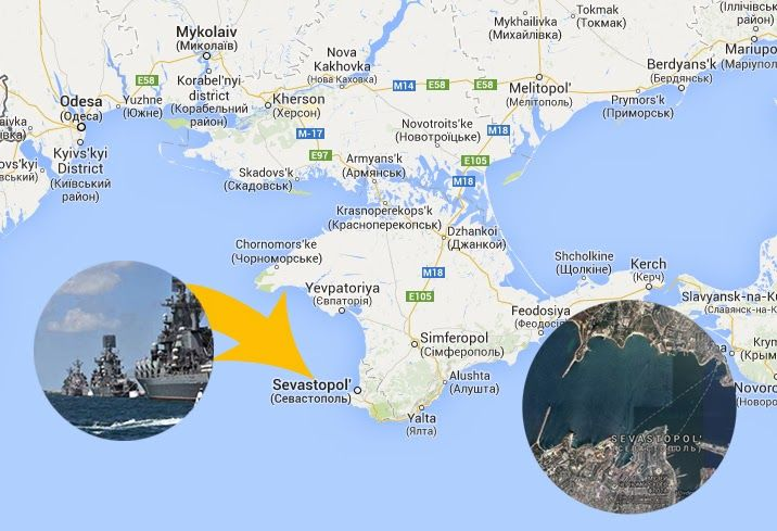 Russian warships arrived in Ukrainian Crimea peninsula coast and landed troops in view of an intervention! Russian-speaking population of Sevastopol Ukrainian flag burning and calls for Putin's help!