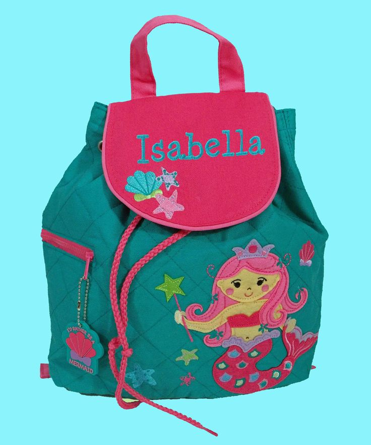 Personalized Child's Stephen Joseph Pink Quilted MERMAID Backpack With Pink Hair-Monogramming Is Included by DeerpathDesigns on Etsy