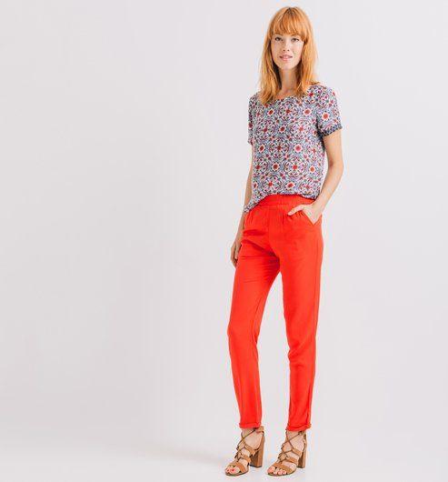 Pantaloni tinta unita corallo - Promod
