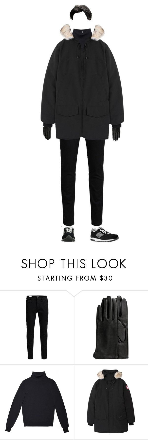"""""""{ ryosei's first appearance"""" by salt-sugar ❤ liked on Polyvore featuring Jack & Jones, H&M, Canada Goose, New Balance, men's fashion and menswear"""