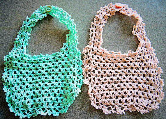 Handmade linen crochet baby bib Pale Pink or Aqua  by LOLAsHome, $12.00